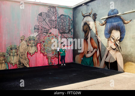 Graffiti paintings at Wynwood Walls in Miami - Stock Photo