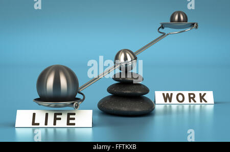 Two spheres with different sizes on a seesaw over blue background. Work life choice concept. - Stock Photo