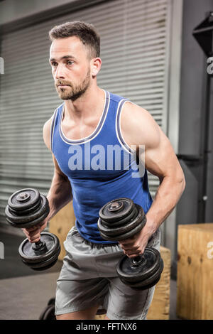 Muscular man lifting dumbbells - Stock Photo