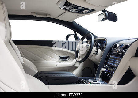 Car interior luxury. Steering wheel & dashboard. Cleaning and detailing car service. - Stock Photo