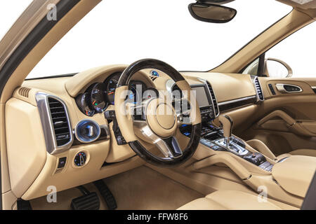 Car steering wheel interior luxury. Dashboard, shift, climate control. Cleaning and detailing car service. - Stock Photo