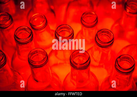 High Angle View Of Red Bottles - Stock Photo