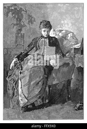 Black and white engraving of a Victorian lady reading a letter while seated in an armchair. - Stock Photo