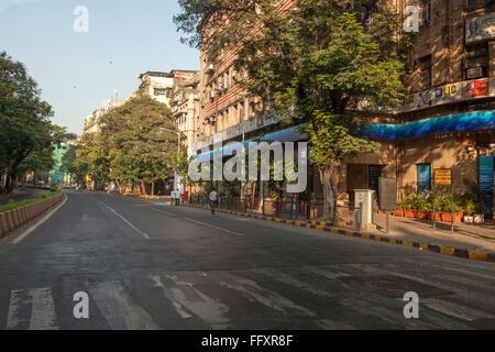 Empty road of Citi Bank Fort due to death of balasaheb thackeray mumbai maharashtra India - Stock Photo