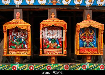 Gods statues on Rath yatra or Cart festival of Jagannath , Puri , Orissa , India - Stock Photo