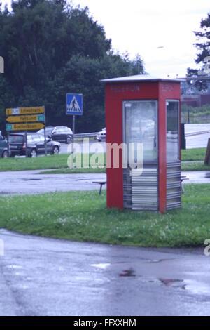 Old phone booth in Kjeller, Norway - Stock Photo