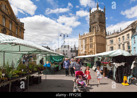 Market town on a sunny day in Cirencester. Gloucestershire. England. UK. - Stock Photo