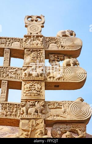 Details of north pillar of eastern gateway three pales showing stories of Buddha stupa Sanchi Bhopal Madhya Pradesh - Stock Photo