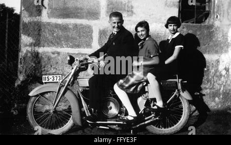 transport / transportation, motorcycle, young man with two women on motorcycle, Middle Franconia, 1930s, Additional - Stock Photo