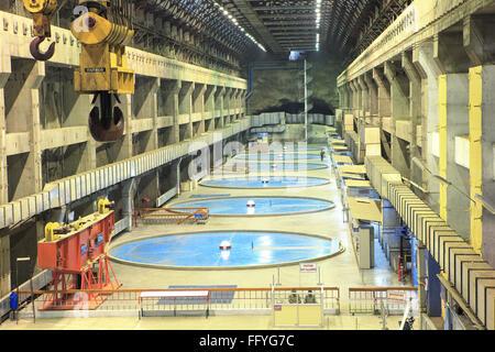 Hydro power house in Kevadia Colony Gujarat India - Stock Photo
