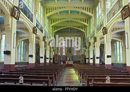 Prayer hall of church ; Shillong ; Meghalaya ; India - Stock Photo