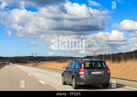 Volvo V50 estate / station wagon car on the motorway / freeway / highway  Model Release: No.  Property Release: No.