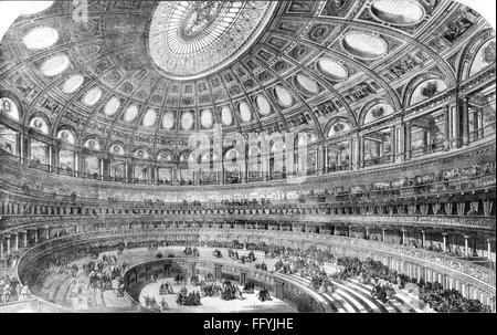 geography / travel, Great Britain, London, building, Royal Albert Hall, built 1867 - 1871 by Lucas Brothers, architect: - Stock Photo