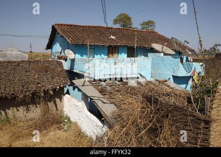 dish antennas in electrified villages mandla madhya pradesh India - Stock Photo