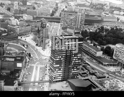 geography / travel, Germany, Berlin, streets, Kurfuerstendamm, view to the Breitscheidplatz, aerial photograph, - Stock Photo