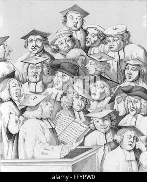 pedagogy, teacher, 'Scholars at Lecture', engraving by William Hogarth (1694 - 1764), 1736, Additional-Rights-Clearences - Stock Photo