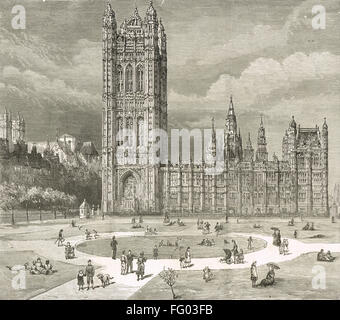 Victoria Tower Houses of Parliament the South Front - Stock Photo