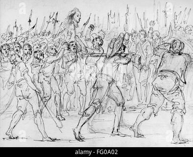 FRENCH REVOLUTION, 1795. /nThe head of Jean Feraud, a Deputy at the Convention, carried on a bayonet during the French Revolution, 21 May 1795. Drawing by Baron Dominique Vivant Denon.