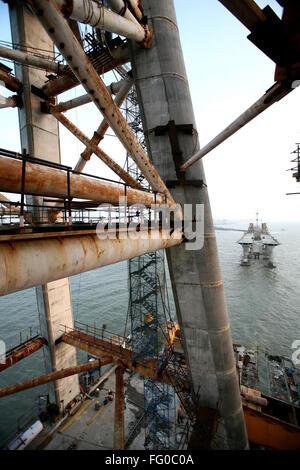 Construction site of the Bandra Worli sea link on Arabian sea , Bombay now Mumbai , Maharashtra , India - Stock Photo