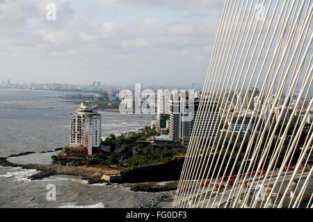 Hotels Sea Rock and Taj Lands End seen from construction site Bandra Worli Sea link Arabian sea Bombay Mumbai Maharashtra - Stock Photo