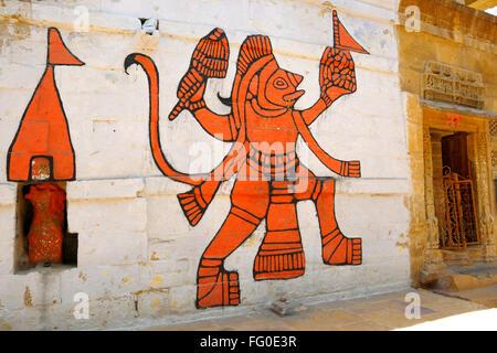 Mural of god hanuman on wall ; Jaisalmer ; Rajasthan ; India - Stock Photo