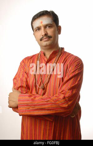 Indian man Hindu Priest with beads mala & ash on forehead  MR #  693O - Stock Photo