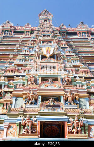 Rajagopuram richly decorated stucco figures impressive gateway Sri Ranganathswami temple Srirangam Tiruchirapalli - Stock Photo