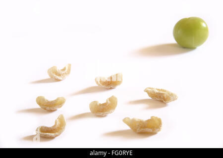 Indian fruits , Emblica Amla Emblica officinalis and supari Indian Gooseberry wonderful medicinal on white background - Stock Photo