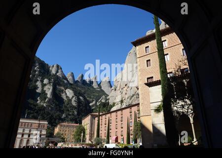 Montserrat monastery near Barcelona, Spain. - Stock Photo