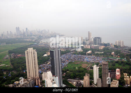 aerial view of worli and hotel four seasons ; Bombay Mumbai ; Maharashtra ; India - Stock Photo