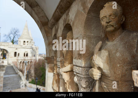 BUDAPEST, HUNGARY - FEBRUARY 02: Detail of stone soldier statue in one of the arches at Fisherman's Bastion, in - Stock Photo