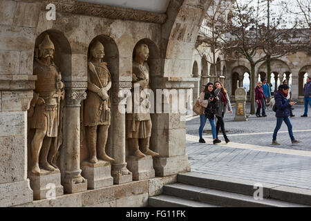 BUDAPEST, HUNGARY - FEBRUARY 02: Stone soldiers in one of the arches at Fisherman's Bastion, in the Old Town district, - Stock Photo