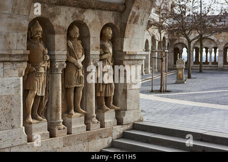 BUDAPEST, HUNGARY - FEBRUARY 02: Stone soldiers in one of the arches at Fisherman's Bastion, in the Old Town district. - Stock Photo