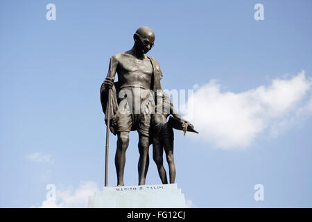 Statue Of Mahatma Gandhi And Local Village Girl  Made By Artist Harish B Talim , Mahatma Gandhi Circle Old Goa , - Stock Photo