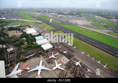 aerial view of runway with hangar of air india at chhatrapati shivaji international airport ; Sahar Bombay Mumbai - Stock Photo