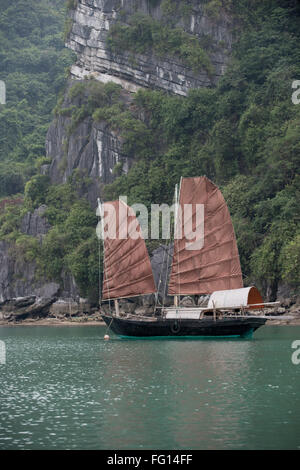 A twin sailed junk moored in a fishing village in Halong Bay, North Vietnam - Stock Photo