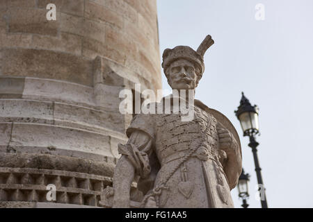 BUDAPEST, HUNGARY - FEBRUARY 02: Detail of stone soldier statue in one of the spires at Fisherman's Bastion, in - Stock Photo