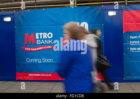 Wimbledon London,UK.17th February 2016. A new Metro bank branch is to open in Wimbledon town centre .Metro Bank - Stock Photo