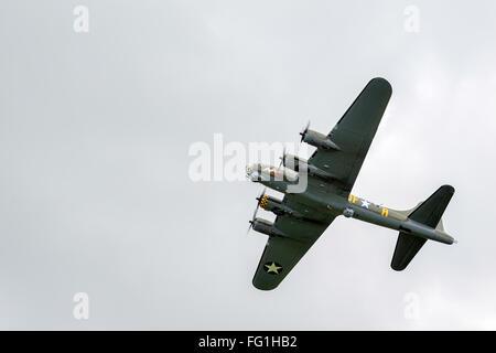 Sally B Boeing B17 Bomber flying over Shorham Airfield - Stock Photo