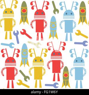 Robots and monsters colorful cute seamless pattern and seamless pattern in swatch menu, vector image - Stock Photo