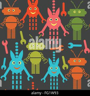 Robots and monsters seamless pattern and seamless pattern in swatch menu, vector image - Stock Photo