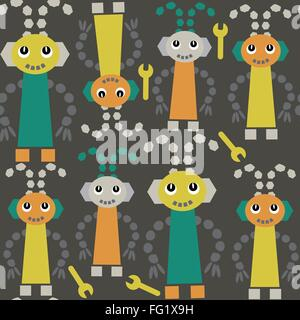 Cute robots  seamless pattern and seamless pattern in swatch menu, vector. Cute texture for design surface, clothing, - Stock Photo