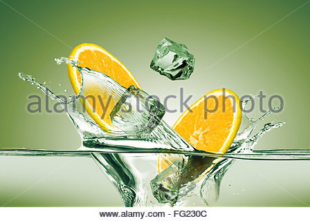 Lemon Flying In Air With Juice Splash On Green Stock Illustration ...