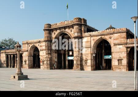 Prayer room facing the courtyard of jami masjid ; Ahmedabad ; Gujarat ; India - Stock Photo