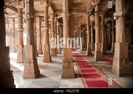 Interior of jami masjid ; Ahmedabad ; Gujarat ; India - Stock Photo