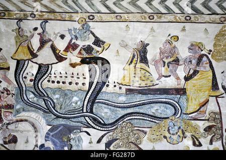 Sheshnag daman painting orchha wall in lakshmi narayan temple madhya pradesh india - Stock Photo