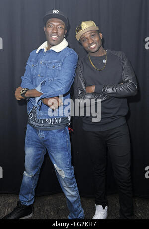 'The X Factor' (UK) 2015 runners up Reggie N Bollie perform live at G-A-Y watched by Sean Miley Moore and his partner - Stock Photo