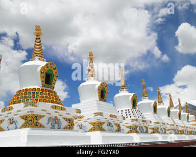 Shanti stupa in leh ; Ladakh ; Jammu and Kashmir ; India - Stock Photo