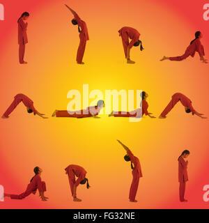 1 indian adult woman yoga surya namaskar stock photo