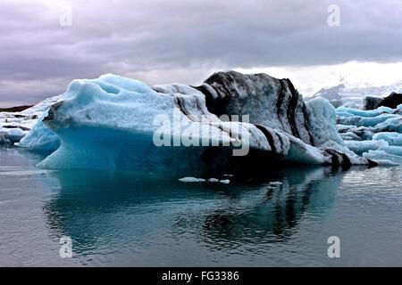Scenic View Of Jokulsarlon Lagoon Against Cloudy Sky - Stock Photo